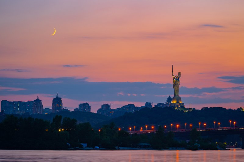 Dawn Dusk Nature Sky Sunset Red Sky Мост Патонаphoto preview