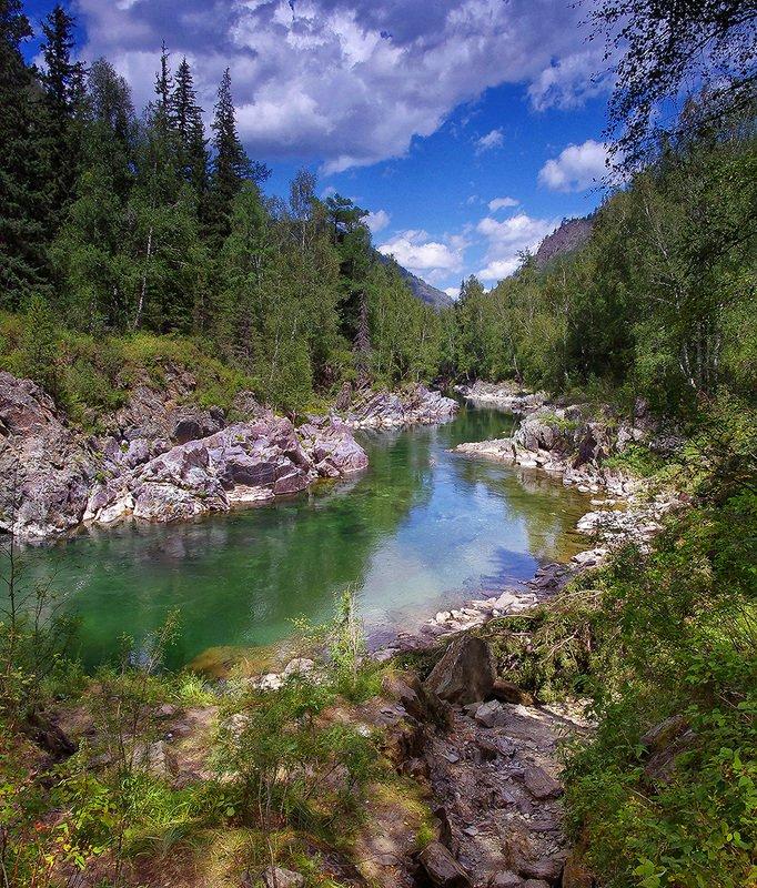 река, кумир, алтай, вода, утро, полдень, девичьи_плёсы Два мгновения Кумираphoto preview