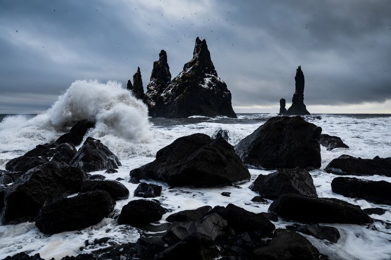 vik, исландия, шторм Пальцы Троляphoto preview