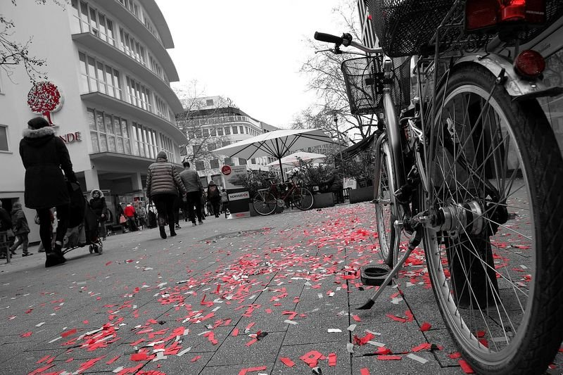 Bike, Street, B/W Red Bikephoto preview