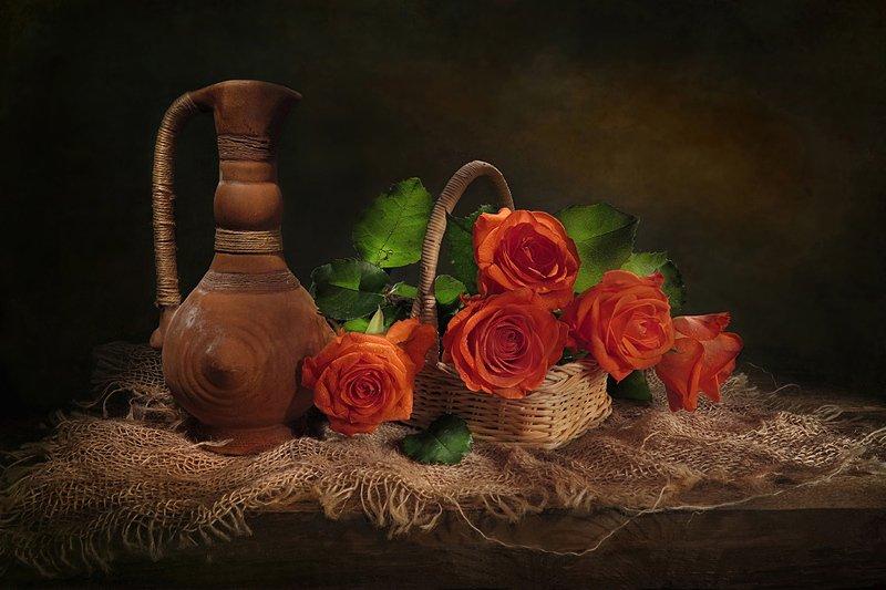 натюрморт,кувшин,корзина,розы Коралловые розыphoto preview