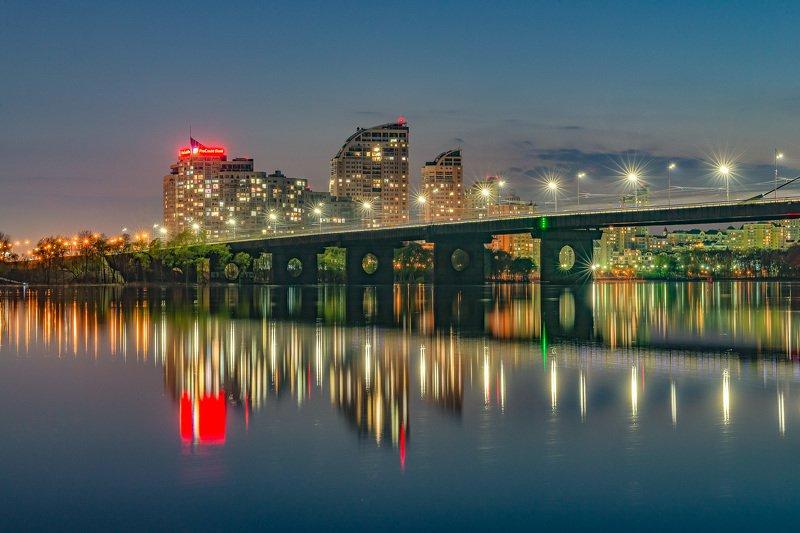 bridge, river, cityscape, night, reflection, sky, lights Вид на ЖК Парусphoto preview
