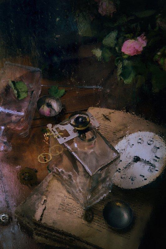 розы, бутылки, стекло, часы, книги, with rosesphoto preview