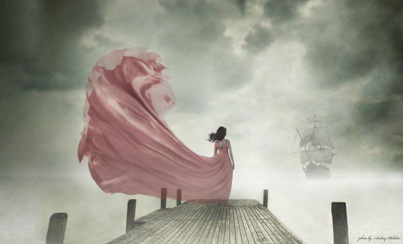 девушка, море, корабль, волны, причал Преданность любимомуphoto preview