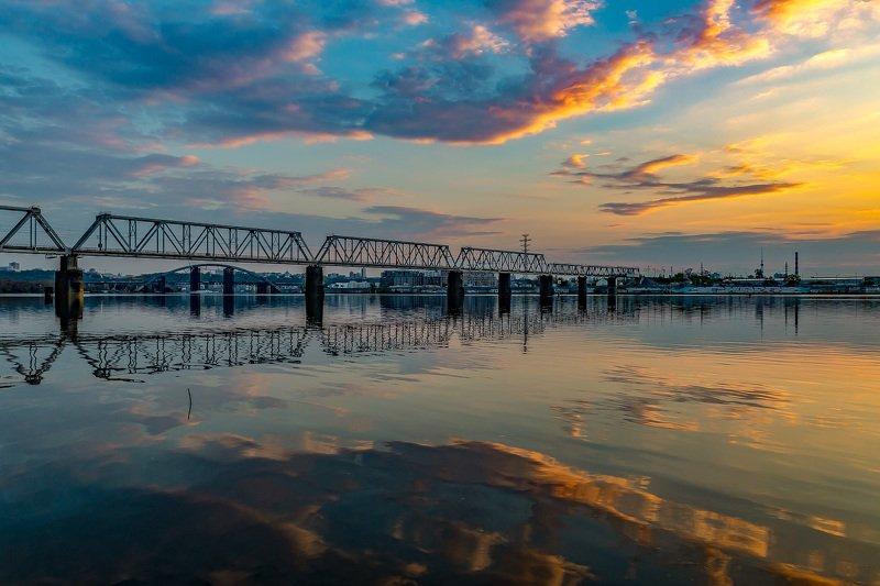 bridge, river, cityscape, night, reflection, sky, lights ЖД мостphoto preview