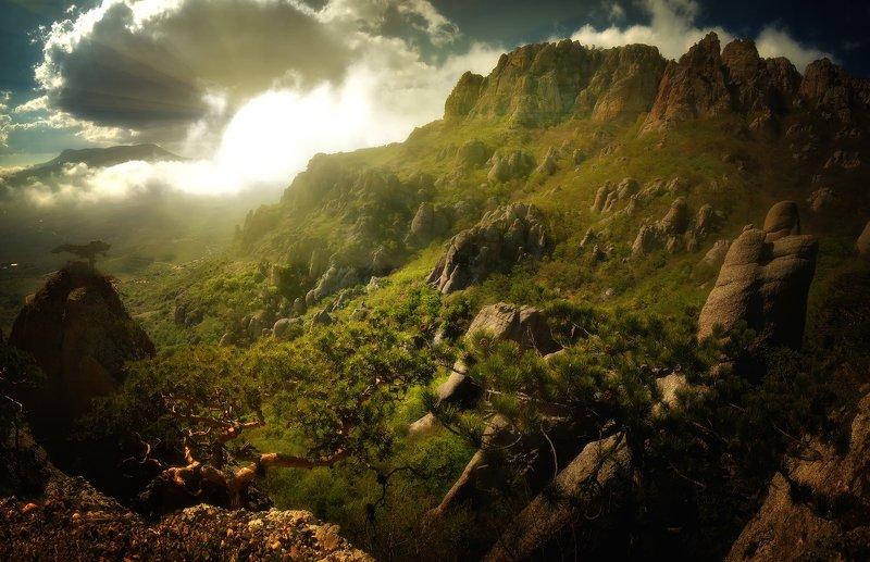 крым, природа, весна, горы, туман Демерджиphoto preview