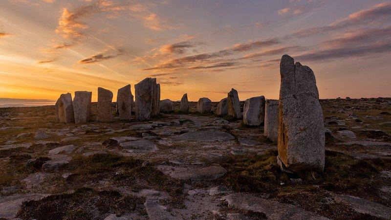 ireland, mayo, sunrise Stone Circlephoto preview
