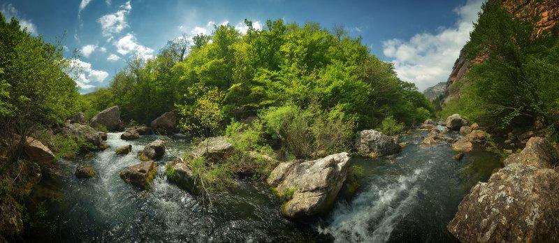крым, природа, весна, горы, река, лес, панорама Река Чернаяphoto preview