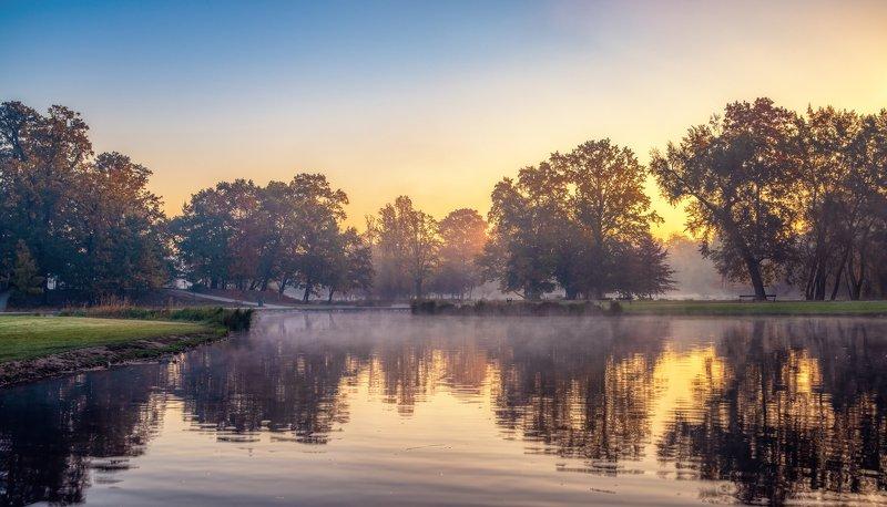 природа пейзаж вода туман утро рассвет осень небо солнце деревья отражения озеро парк Одно туманное утро...photo preview