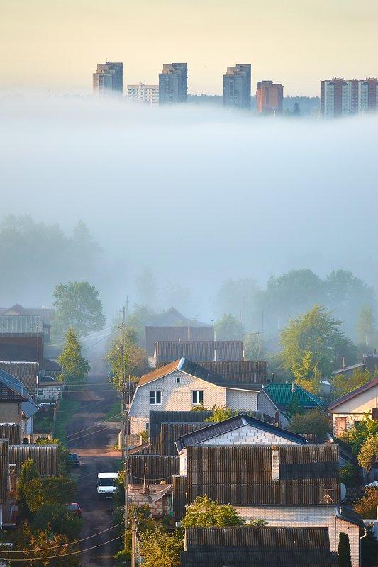 город, утро, туман, рассвет Культурные слоиphoto preview