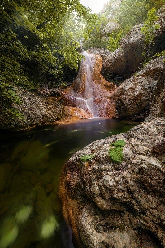 мелодия, водопад, река, горы, крым, весна, лето, листья \