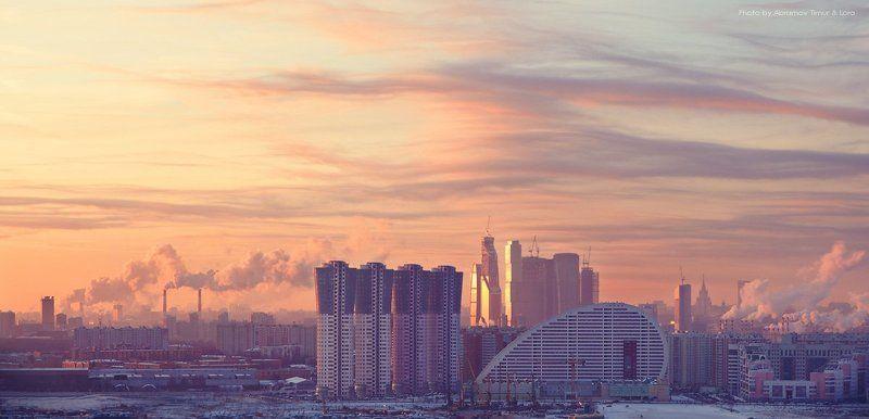 город, рассвет, москва Город втречает рассветphoto preview