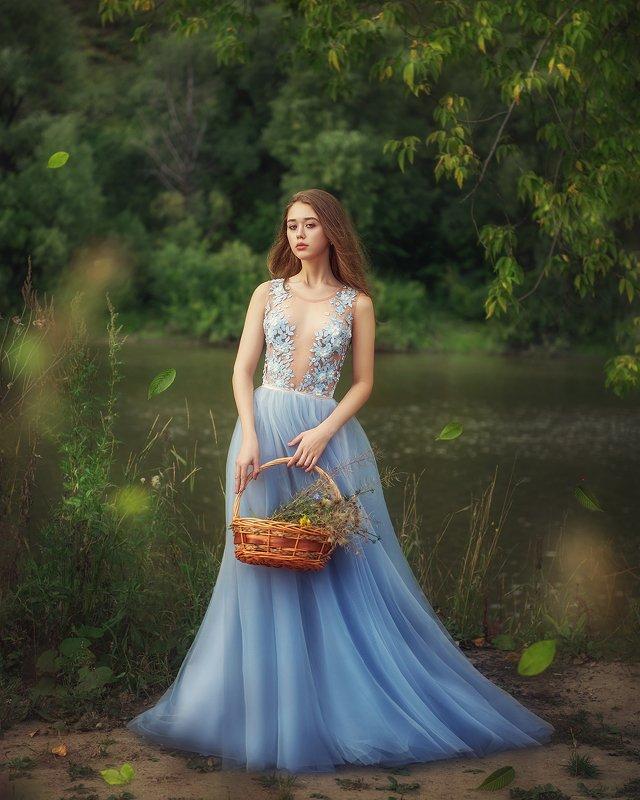 девушка, лето, природа, платье, река, портрет, girl, portrait, outdoor, nature, dress, river, blue photo preview