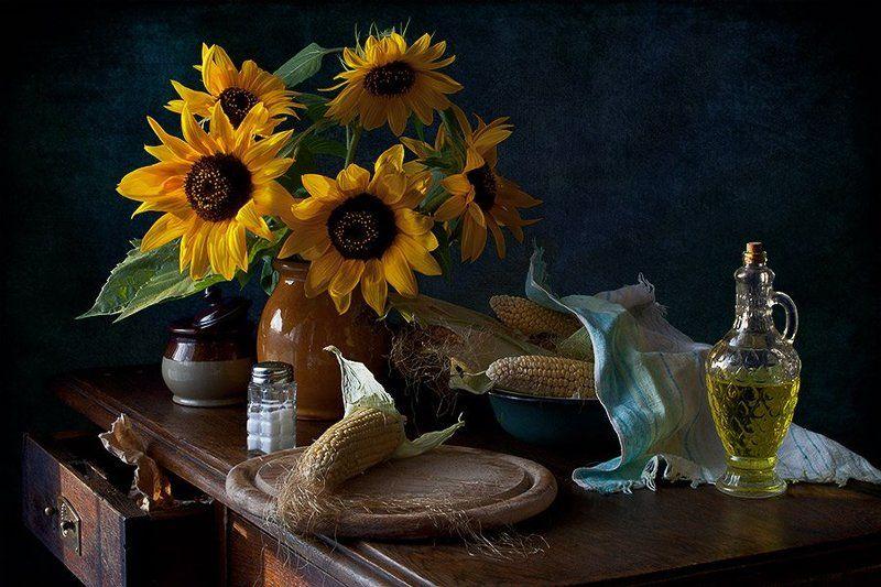 подсолнухи, кукуруза, масло, соль, миска, осень, елена алимова Подсолнухи и кукурузаphoto preview