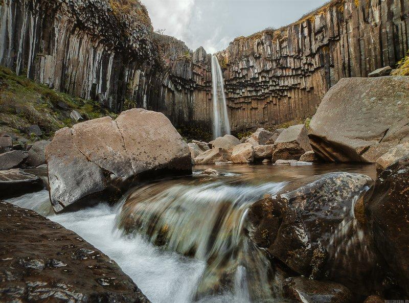 iceland, landscape, travel, nature, water, waterfall, пейзаж, путешествие, исландия, природа, водопад Svartifoss waterfallphoto preview