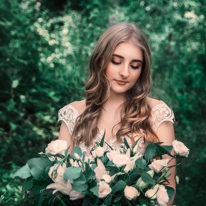 portrait, girl, flowers, green, nature, summer, wedding, dress, девушка, портрет, цветы, свадьба, платье, лето, зеленый photo preview