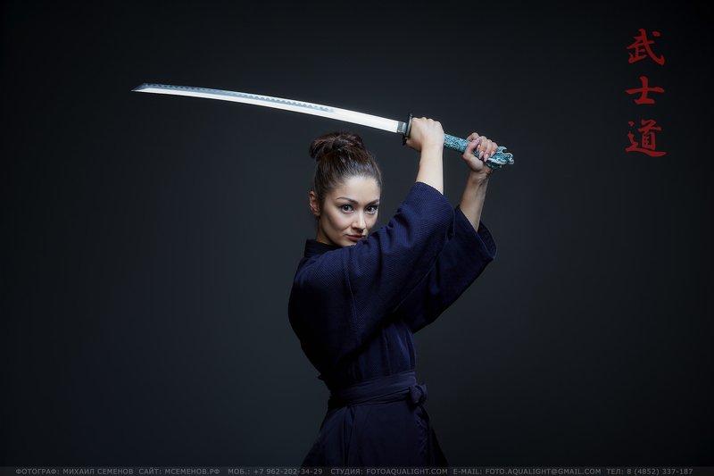 михаилсеменов, аквалайт, самурай, бусидо, девушка, катана, воин 武士道 (bushido)photo preview