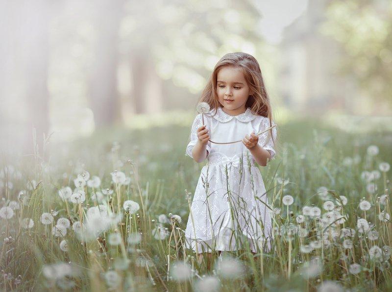 детство, детский портрет, лето, девочка, настроение, одуванчики, белое Одуванчиковое настроениеphoto preview