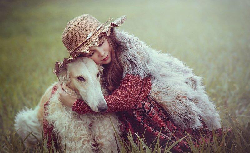 детство, детский портрет, лето, девочка, настроение, собака, борзая, дружба, шляпка вместеphoto preview