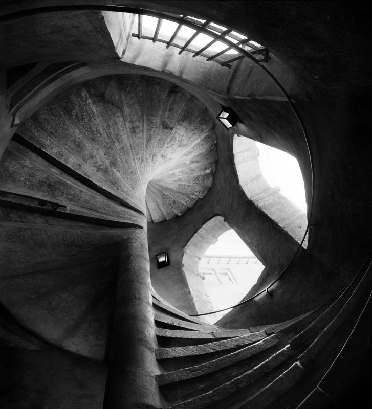 spiral, staircase, old, building, lyon, france, europe, city, circle, stairs, up, windows Lights and Shadowsphoto preview