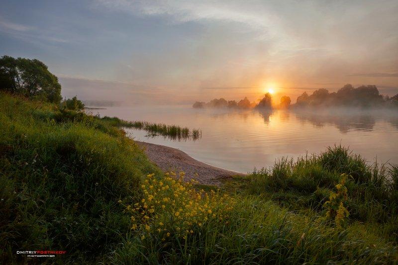 пейзаж,природа,река,туман, Туманный берег реки Дубна.photo preview