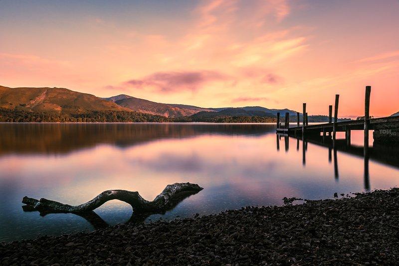 sunrise water jetty bridge reflection branch tree purple magenta orange england lake lakedistrict  \