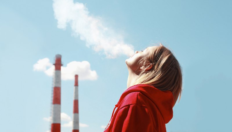 girl, portrait, blue sky, factory, smoke Radioctivephoto preview