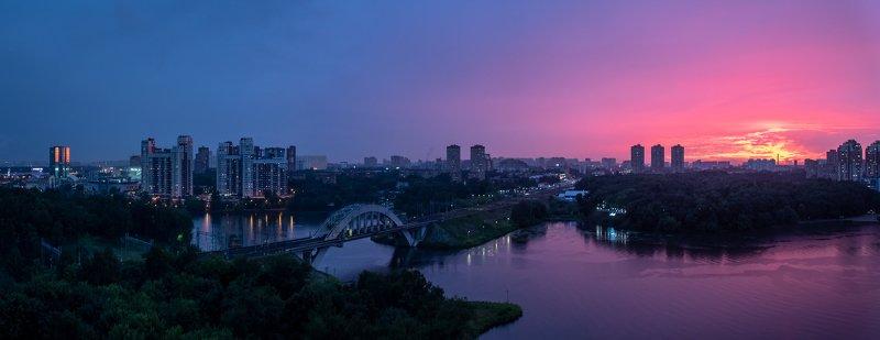 закат, канал, москва, химки, вечер, вода, отражение, небо, пурпур, фиолетовый, синий Подмосковные вечераphoto preview