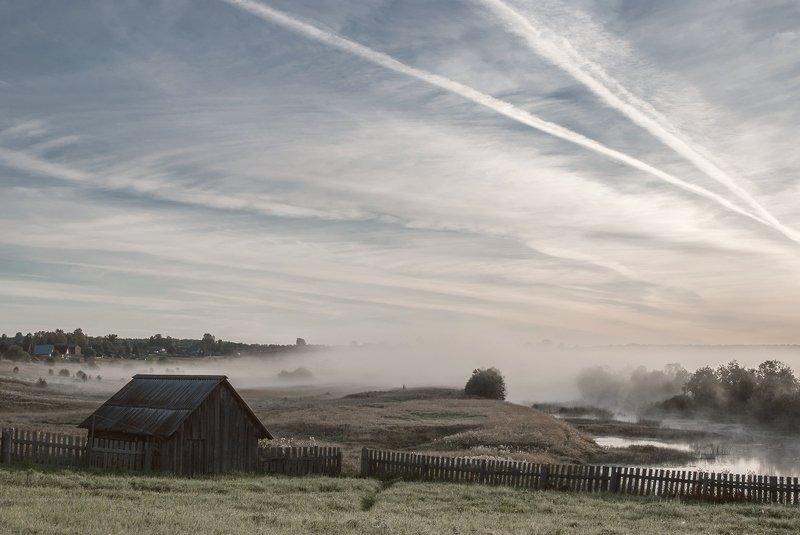 вологодская область, река вожега, деревня коневка,вечер туман Утренние туманыphoto preview