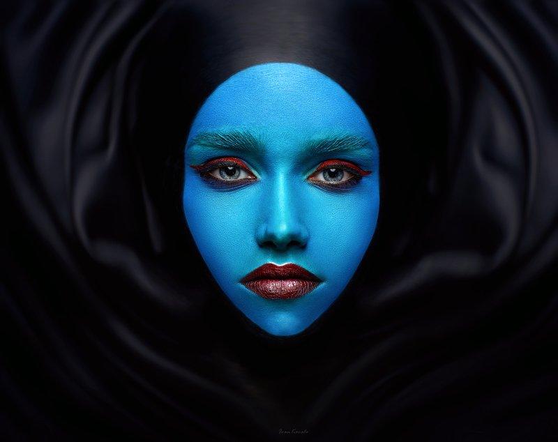 портрет, девушка, взгляд, лицо, амплитуда, макияж, космос, волны, синий, wallart, ivankovale Децибелы безмолвияphoto preview