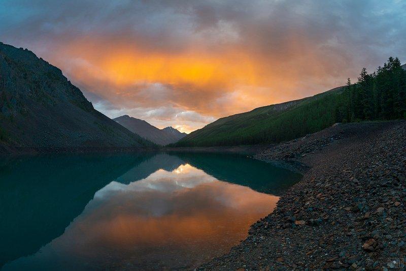 алтай, горы, закат, озеро, Закат на Шавлинском озере.photo preview
