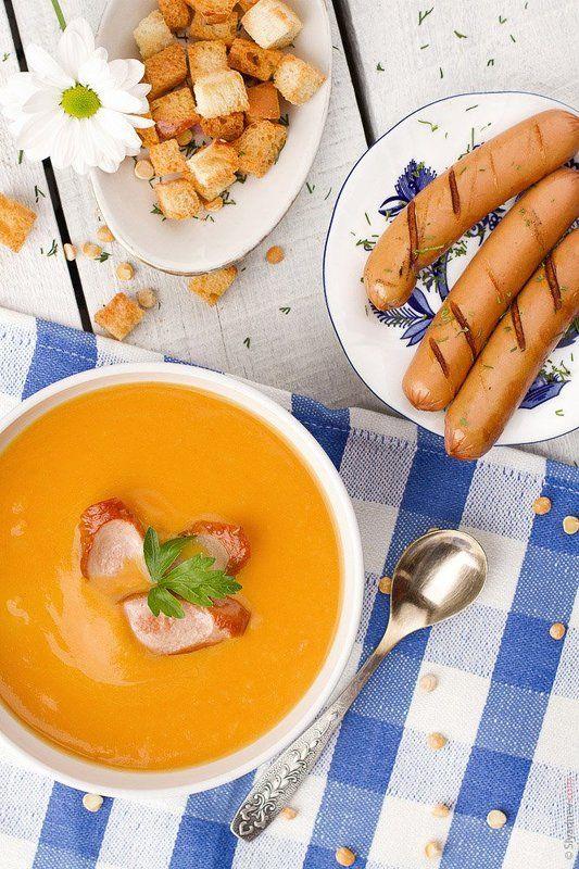 еда Гороховый крем-суп с сосискамиphoto preview