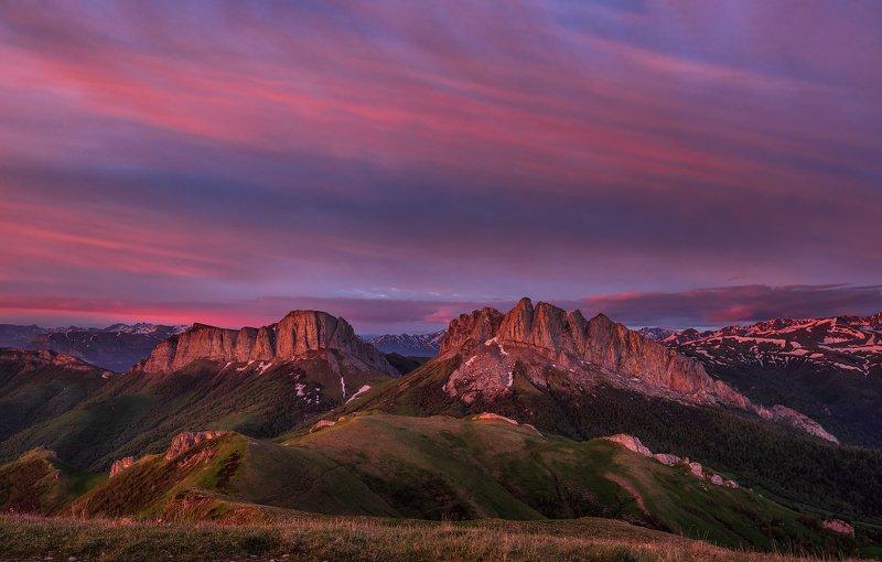 закат, большой тхач, малый тхач, асбестная, горы, пейзаж, рассвет, кавказ, адыгея, ачешбоки Малиновый рассвет.photo preview
