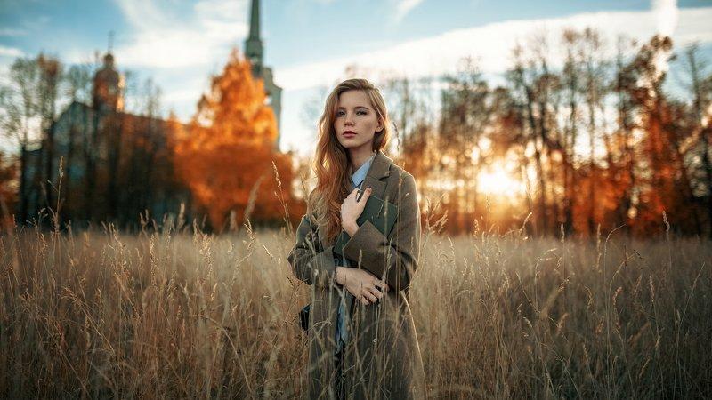 девушка, портрет, солнце, закат, свет Follow the Sunphoto preview