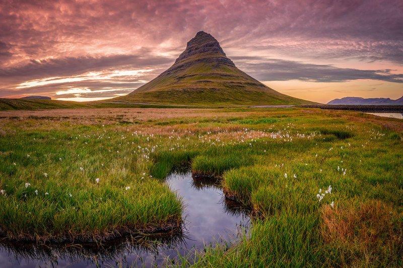 islandia, iceland, исландия, kirkjufellsfoss, киркьюфетль, kirkjufell Вечер на Киркьюфетле.photo preview