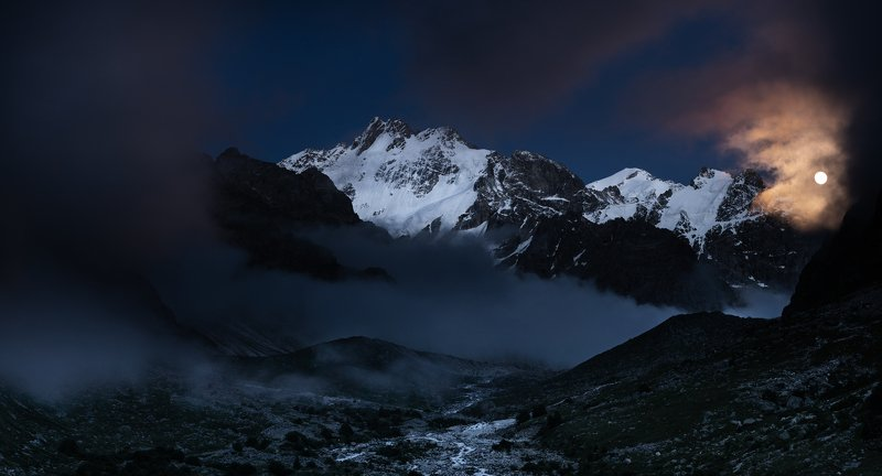 горы, ночь, луна, mountains, moon, night ***photo preview