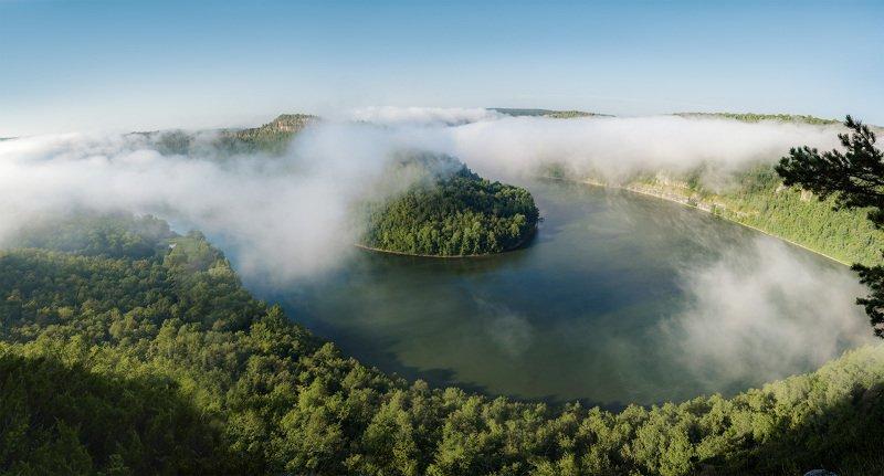 пейзаж, туман, река, природа, Башкирия, утро, панорама Слияние горных рек Нугуш и Урюкphoto preview