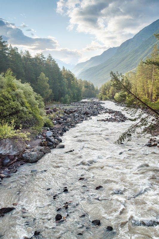 пейзаж, горы, ручей, утро, Эльбрус, Россия, рассвет, природа утро на горной реке, Приэльбрусьеphoto preview