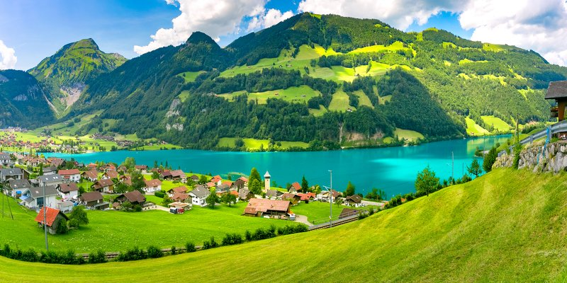 panorama, panoramic, traditional, house, church, chalet, alter kirchturm, church tower, switzerland, lungern, lungerersee, lake, swiss, canton, village, obwalden, obwald, sarneraa-valley, brunig pass, valley, mountain, swiss alps, alps, europe, european, Swiss village Lungern, Switzerlandphoto preview