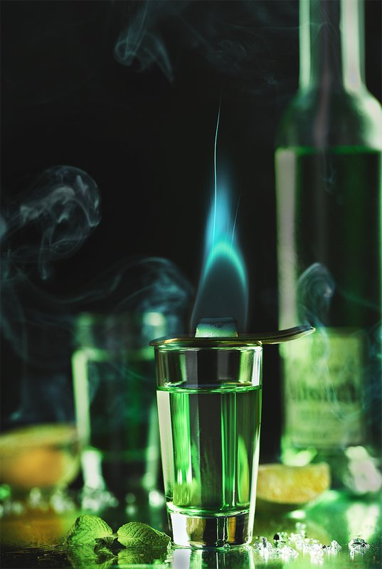 напиток, еда, стекло, зеленый, пламя абсентphoto preview