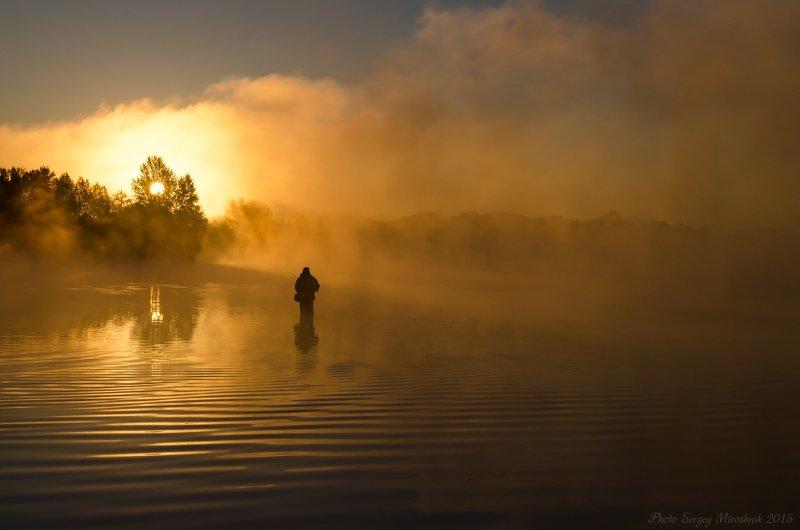 пейзаж, природа, река, октябрь осень, туман, утро, украина Рассвет в золотом цветеphoto preview