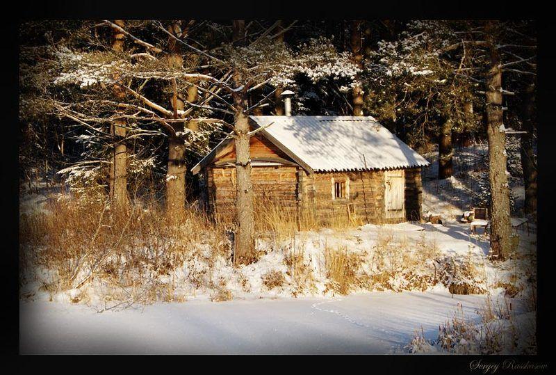снег, зима, домик, деревня, сугробы, баня, сосны, лес В ожидании..photo preview