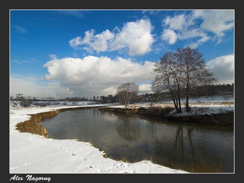 фото, пейзаж, подмосковье, красково, весна, снег, солнце, небо, облака, река, радость Весна в Красковоphoto preview