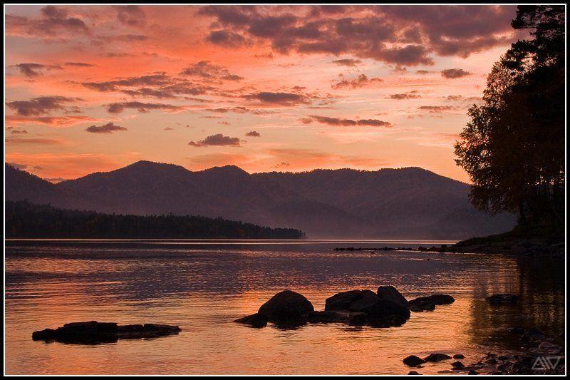 телецкое озеро вечер закат горный алтай Телецкое озеро: закатphoto preview