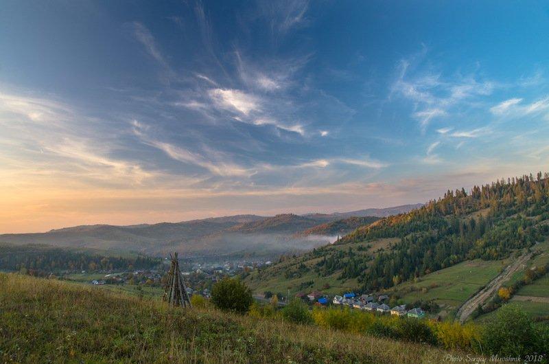 пейзаж, октябрь, небо, карпаты, осень, красиво, боржава Вечер над Карпатским селомphoto preview