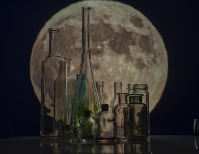 bottles,moon,still life, bottles and moonphoto preview