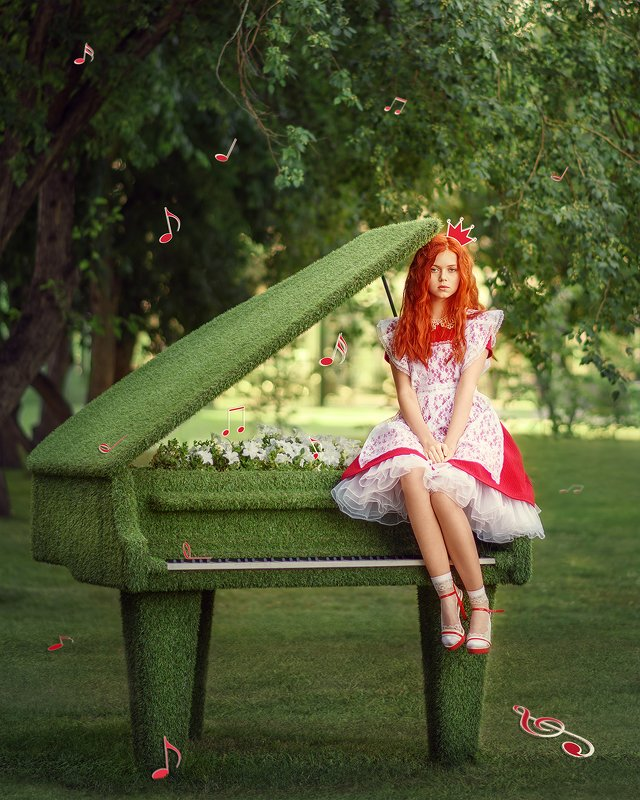 девушка, рыжеволосая, красный, лето, сказка, рояль, портрет, portrait, piano, outdoor, redhair, redhead, red dress, summer photo preview