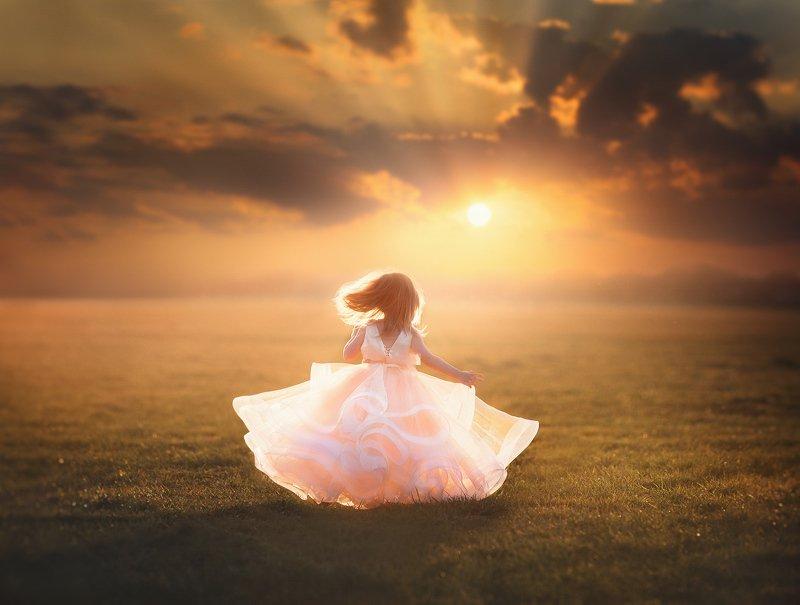 sunset sky, sunset, sunlight, outdoors, happiness, kids, children, sky, run A Million Skiesphoto preview