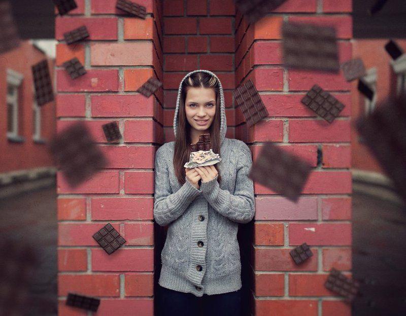 i love chocolate, девушка, фото, настя, портрет, шоколад, плитки, летают, левитация, в воздухе, класивая, сладкоежка I Love Chocolatephoto preview
