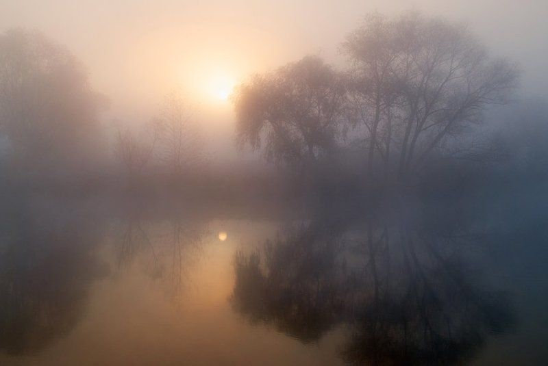 рассвет, осень, речка, туман. ура, солнце взошло ! - )photo preview